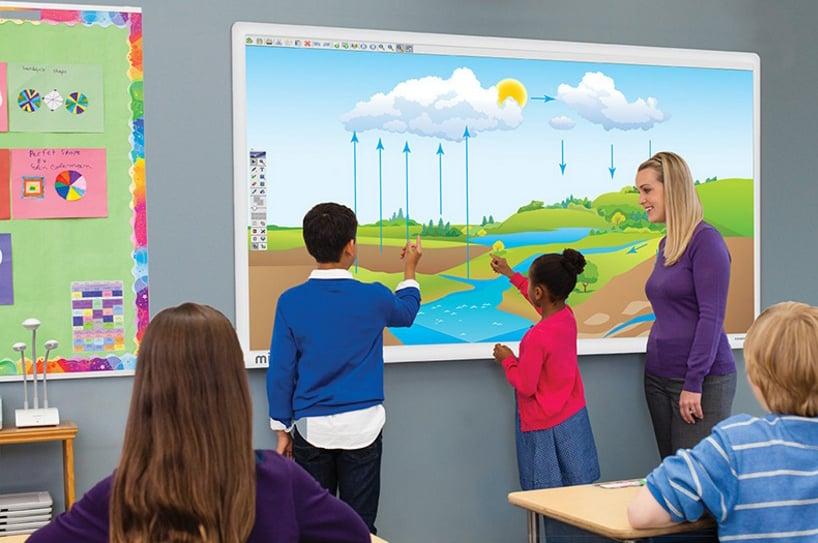 Children using classroom touchscreen